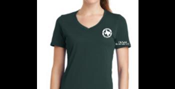 Ladies V-Neck Logo Tee - Forest Green