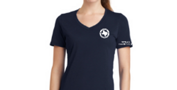 Ladies V-Neck Logo Tee - Navy