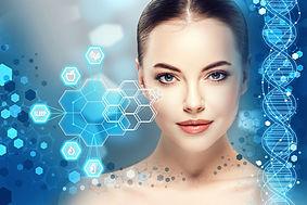Beautiful woman info-graphic portrait wi