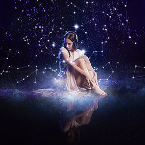 Photo art, young woman dreams to starry