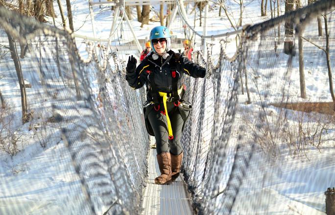 suspension bridge in snow