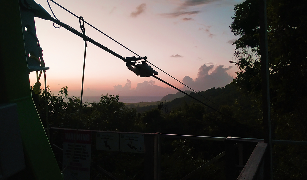 zipline at sunset