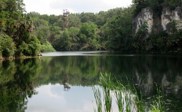 zipline platform over lake