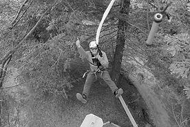 man enjoying in challenge course