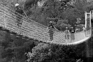 people crossing suspension bridge