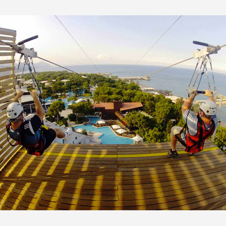 two people about to zipline