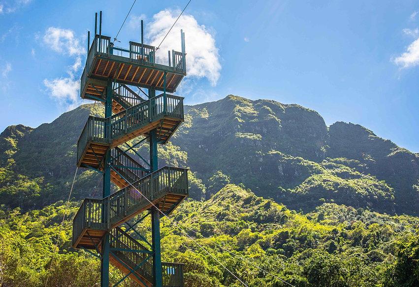 stairs to zipline tower