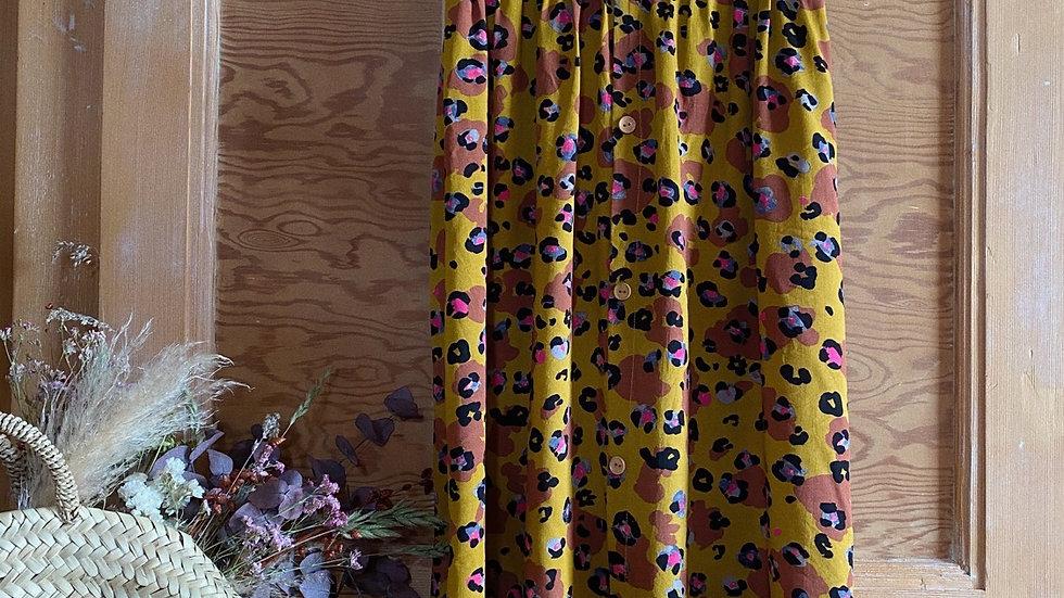 Jupe viscose moutarde motifs léopard