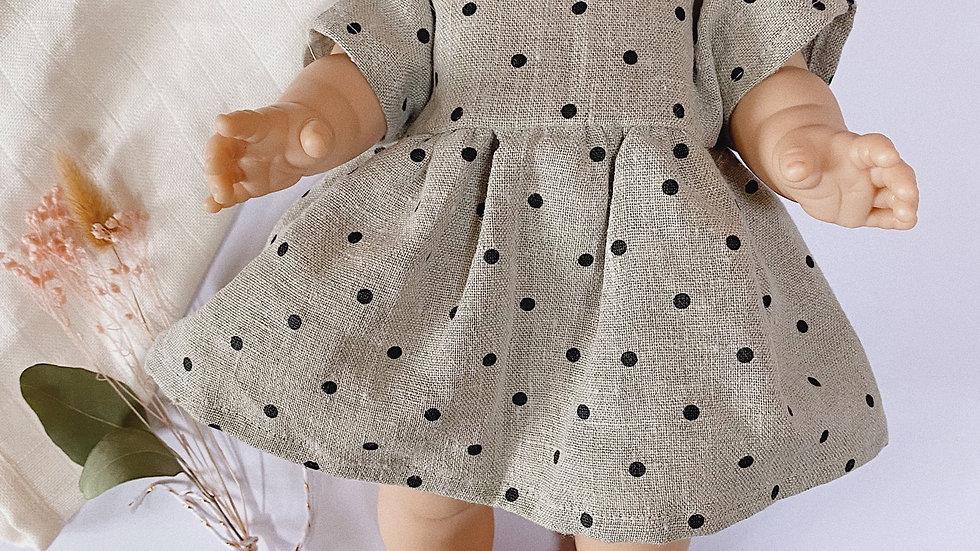 Robe de poupée en lin