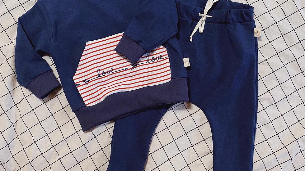 Pull à poche en jersey bleu