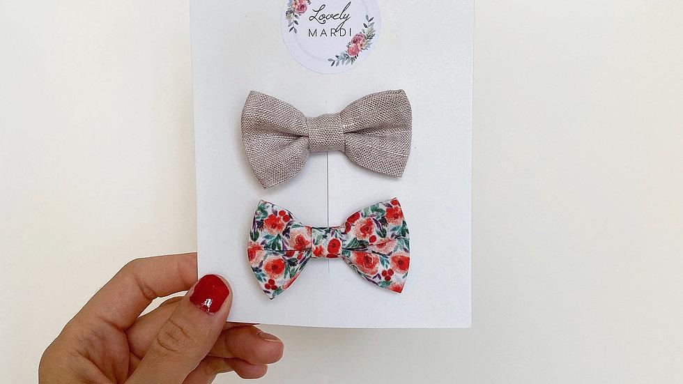 Duo de noeuds - lin + floral