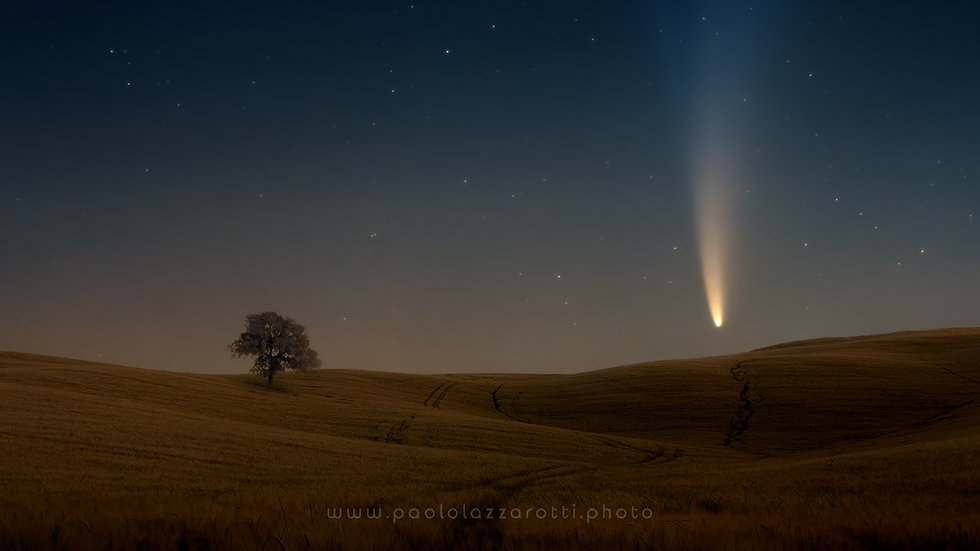 Comet setting on a field