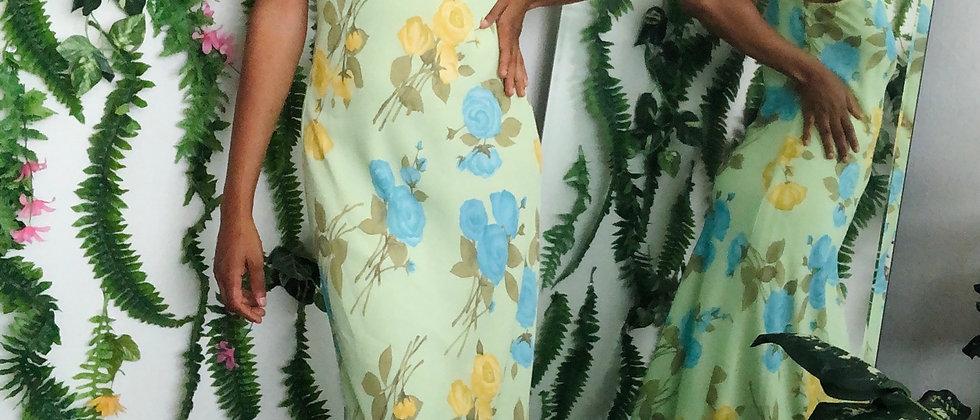 Green Vintage Floral Dress
