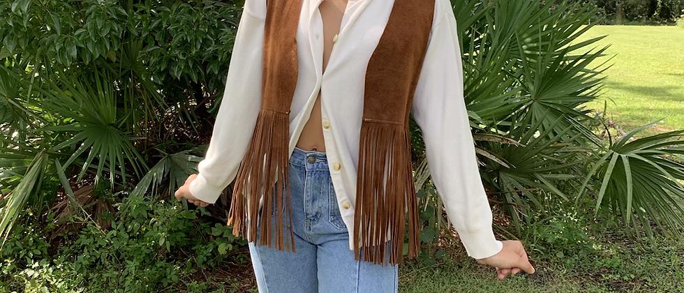 Vintage suede fringed vest