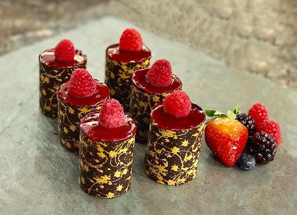 Mini raspberry and dark chocolate mousse - 2 pieces