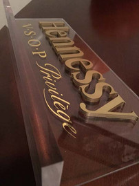 Gold Leaf Logo on Acrylic Stand