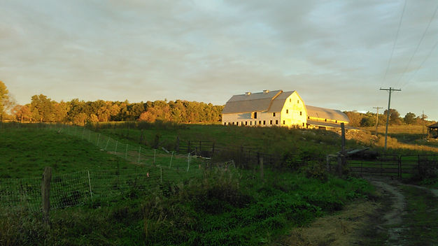 A barn at sunset