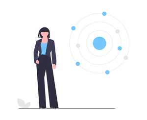 Illustration of female employer and data