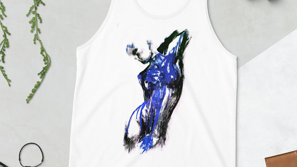 Stroke Piece #1 Art (white & blue) Tank Top