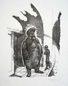 """Resim, Batning Bilder'in, Franz Kafka'nın ünlü öyküsü """"Vor dem Gesetz"""" (Yasa Önünde) için çizdiği litografiden alınmıştır."""
