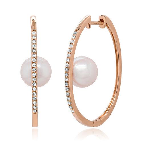 Diamond Floating Pearl Hoops
