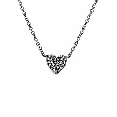 Tiny Chubby Black Heart Necklace