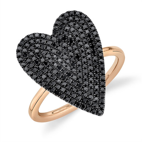 Black Pavé Heart Ring