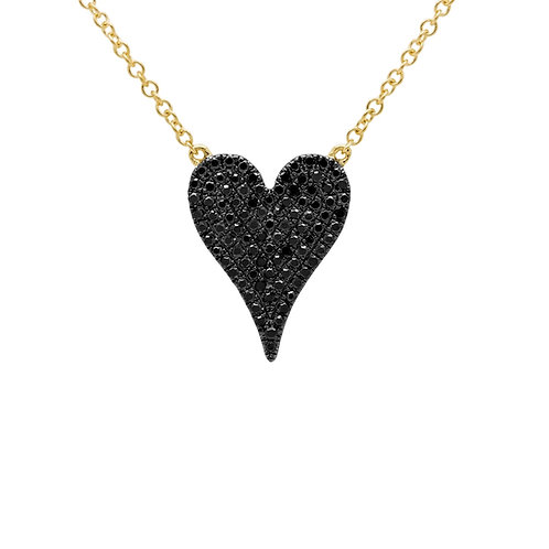 Black Pavé Heart - Medium