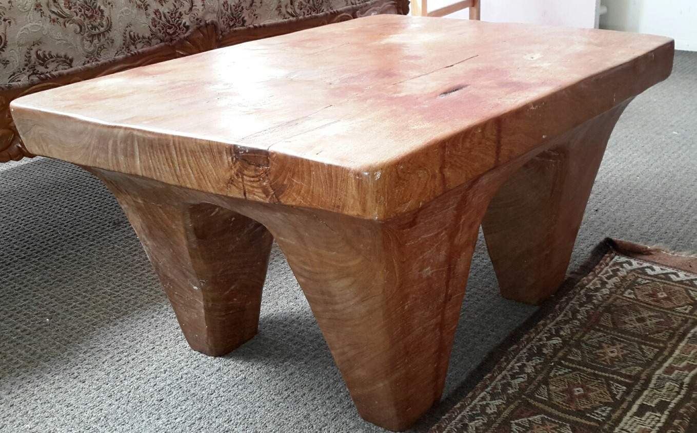 Teak Single Carved Side Table