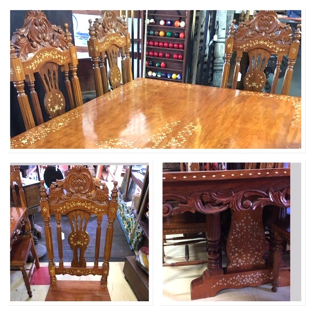 Indian Inlay Table with 8 Chairs