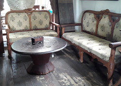 Vintage Burmese Carved Teak 9 piece