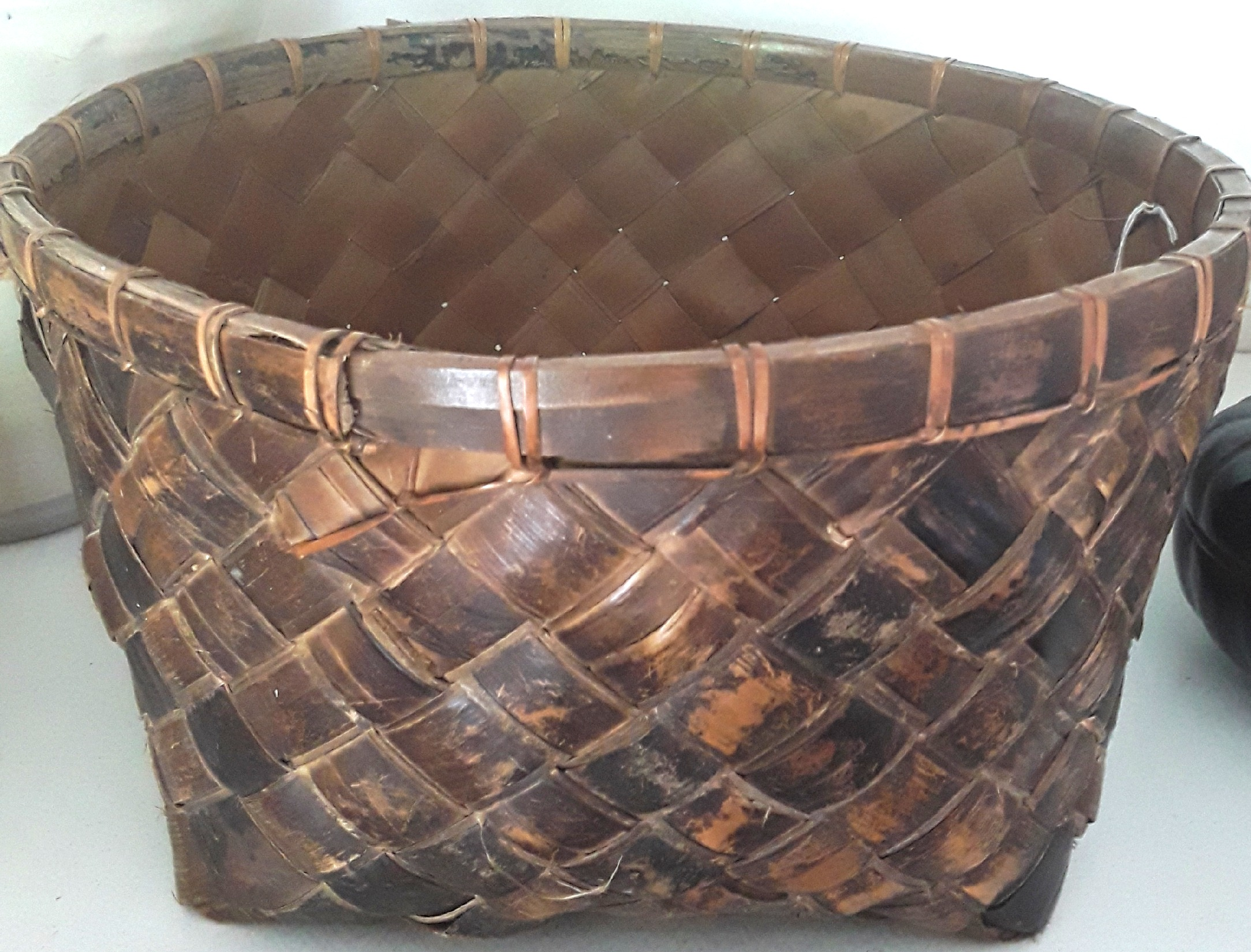 Vintage Balinese Palm Leaf Basket
