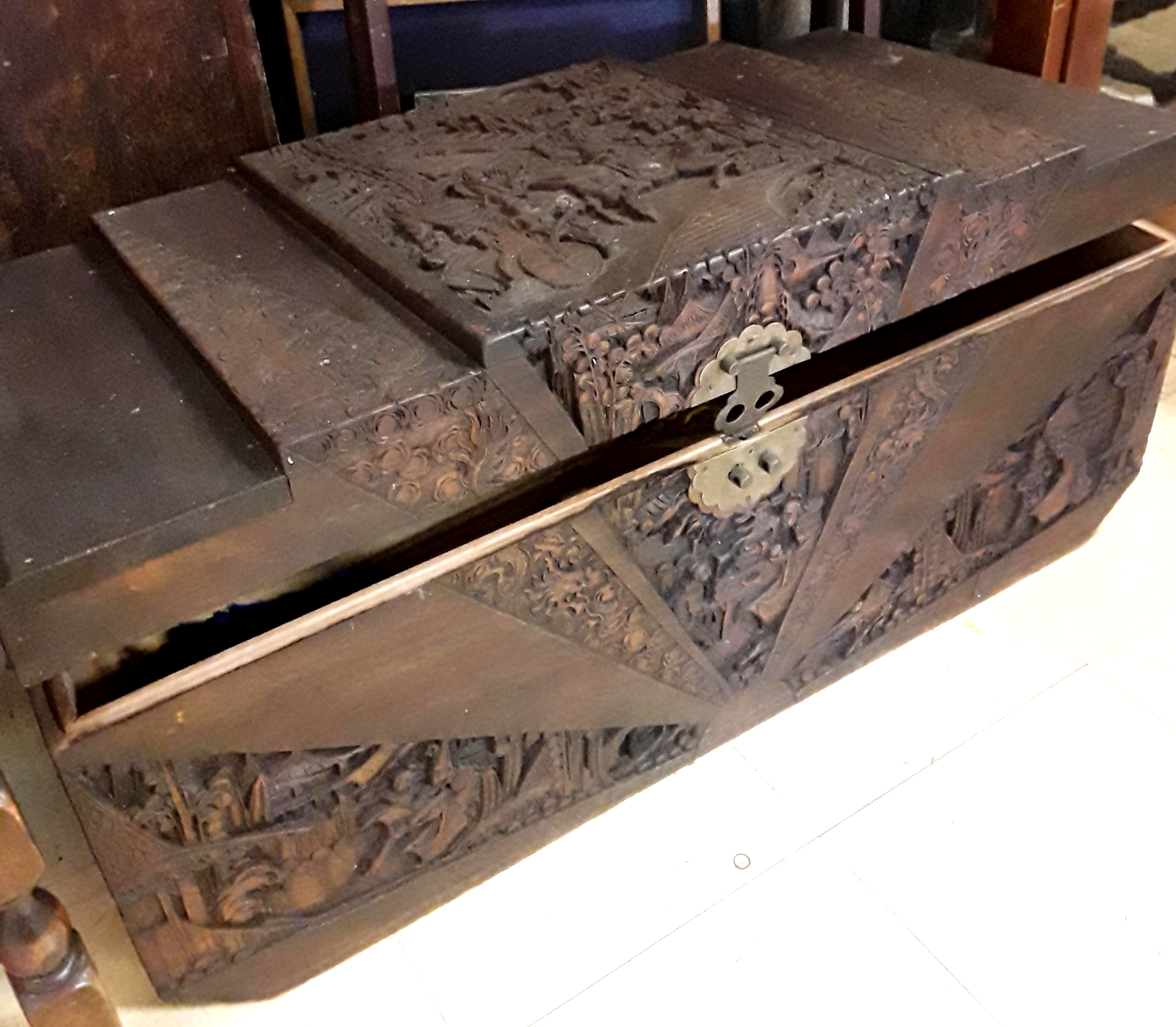 Carved Timber Chest