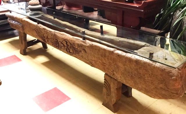Antique Teak Mortar Hall Table