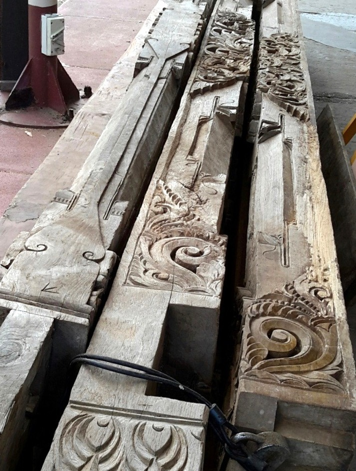 Java Teak Carved Structural Beam