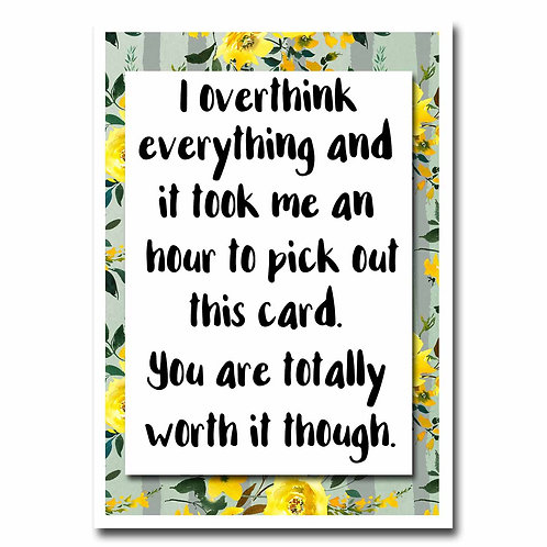 Overthink Everything Blank Greeting Card - 6 pack