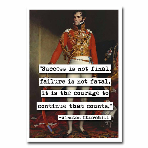 Winston Churchill Success quote Blank Greeting Card - 6 pack w