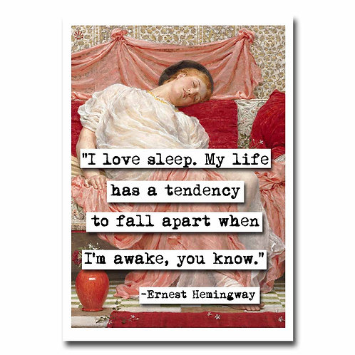 Ernest Hemingway Sleep Blank Greeting Card - Set of 6