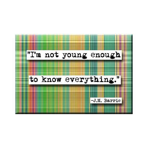 J.M. Barrie Not Young Enough Quote Magnet - Set of 3 Wholesale