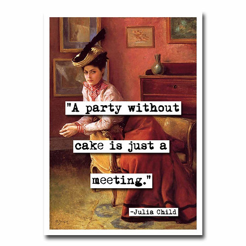 Party Without Cake Blank Greeting Card - 6 pack