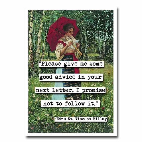 Edna St Vincent Millay Greeting Card - 6 pack NEW