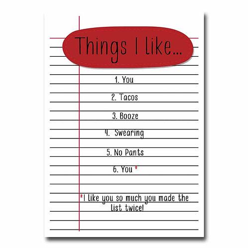 Things I Like Greeting Card - 6 pack