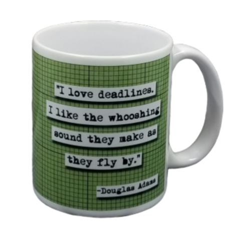 Douglas Adams Deadlines Coffee Mug - 2 per