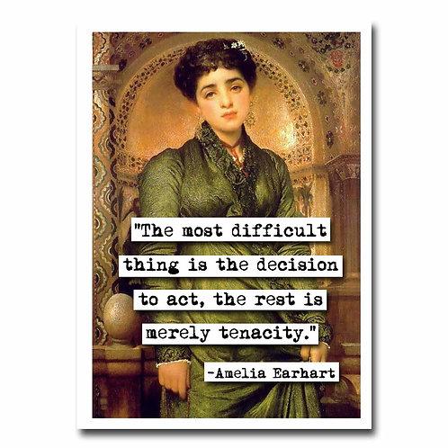 Amelia Earhart Tenacity quote Blank Greeting Card - 6 pack w