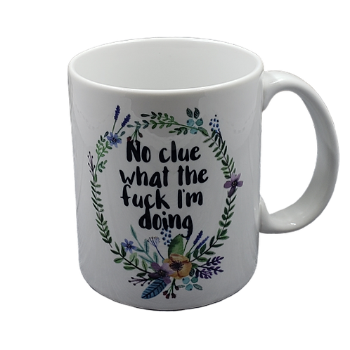 No Clue What the Fuck coffee mug - wholesale set of 2