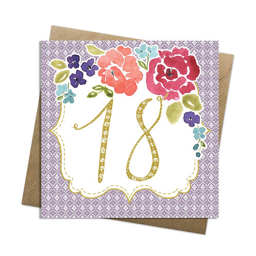 Floral Eighteen Card