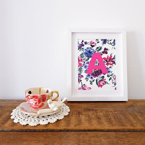 Personalised Ink Floral Letter Print