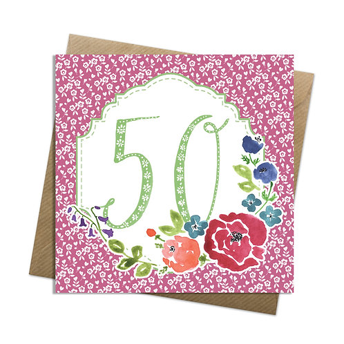Floral Fifty Card