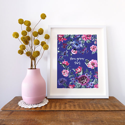 Bespoke colourful inky floral Print