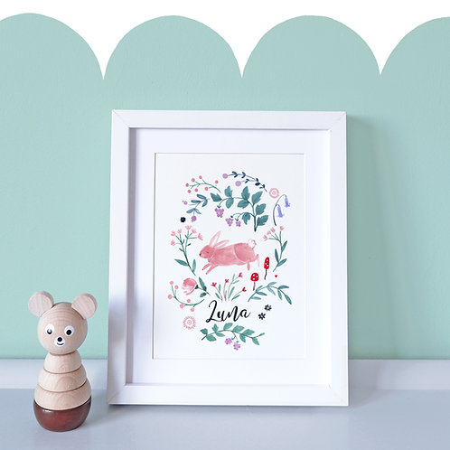 Personalised Leaping Bunny Print